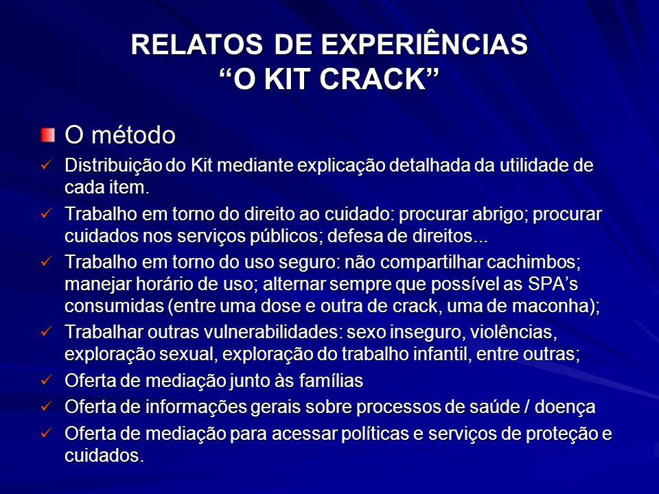 RELATOS DE EXPERIÊNCIAS O KIT CRACK O método Distribuição do Kit mediante explicação detalhada da utilidade de cada item. Distribuição do Kit mediante