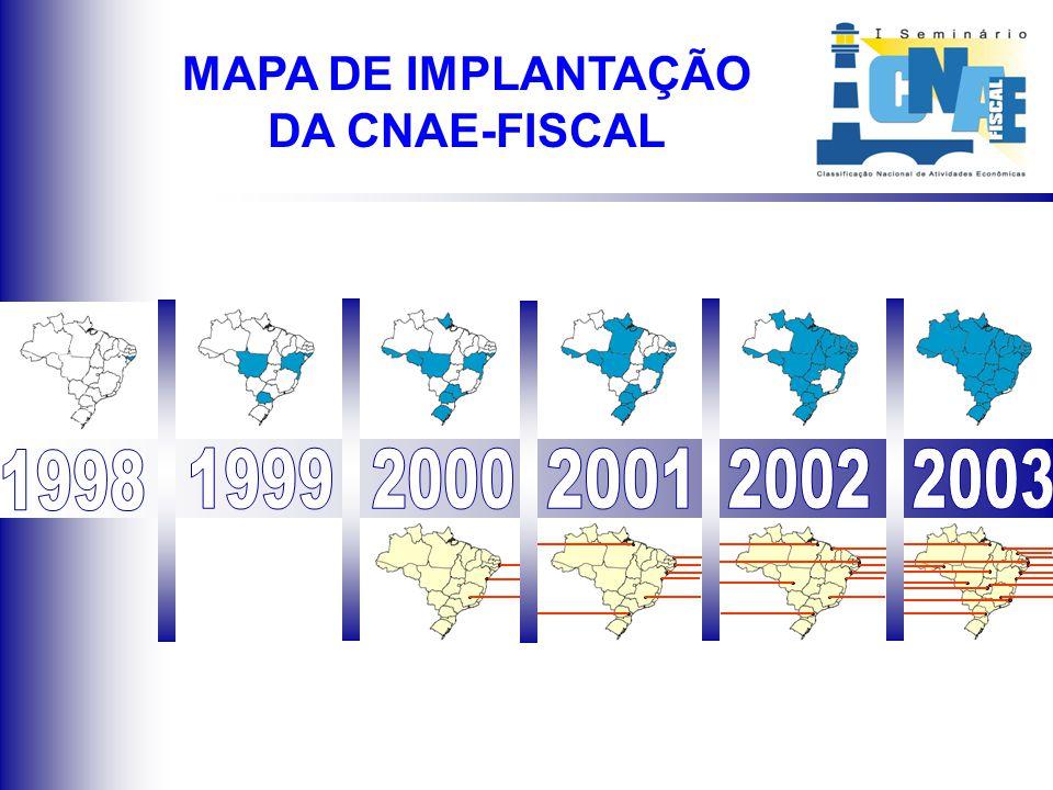Situação atual de implantação da CNAE-Fiscal nos Estados brasileiros MAPA DE IMPLANTAÇÃO DA CNAE-FISCAL