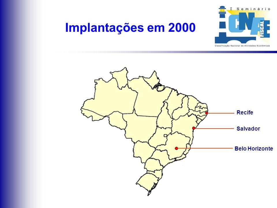 Situação atual da implantação da CNAE-Fiscal nas Capitais brasileiras MAPA DE IMPLANTAÇÃO DA CNAE-FISCAL
