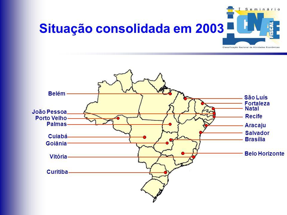 Implantações em 2003 Goiânia Brasília Palmas Vitória Porto Velho Fortaleza