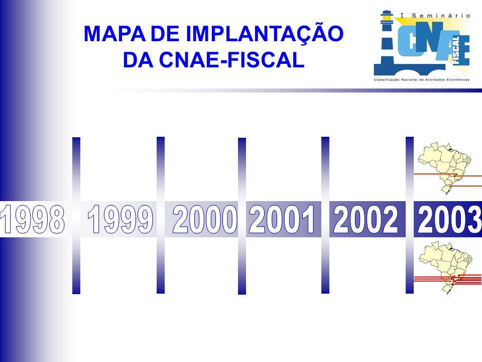 Situação atual da implantação da CNAE-Fiscal em outros Municípios MAPA DE IMPLANTAÇÃO DA CNAE-FISCAL