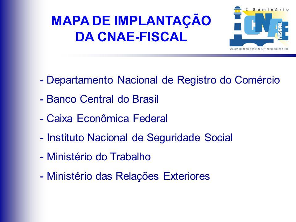 Utilização da CNAE / CNAE-Fiscal em outros órgãos públicos MAPA DE IMPLANTAÇÃO DA CNAE-FISCAL
