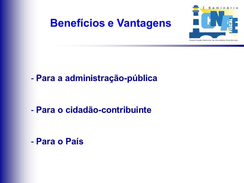 Implantação da CNAE-Fiscal Implantação de gradativa da CNAE-Fiscal Integração Nacional Modelo de Gestão Participativa entre órgãos públicos da adminis