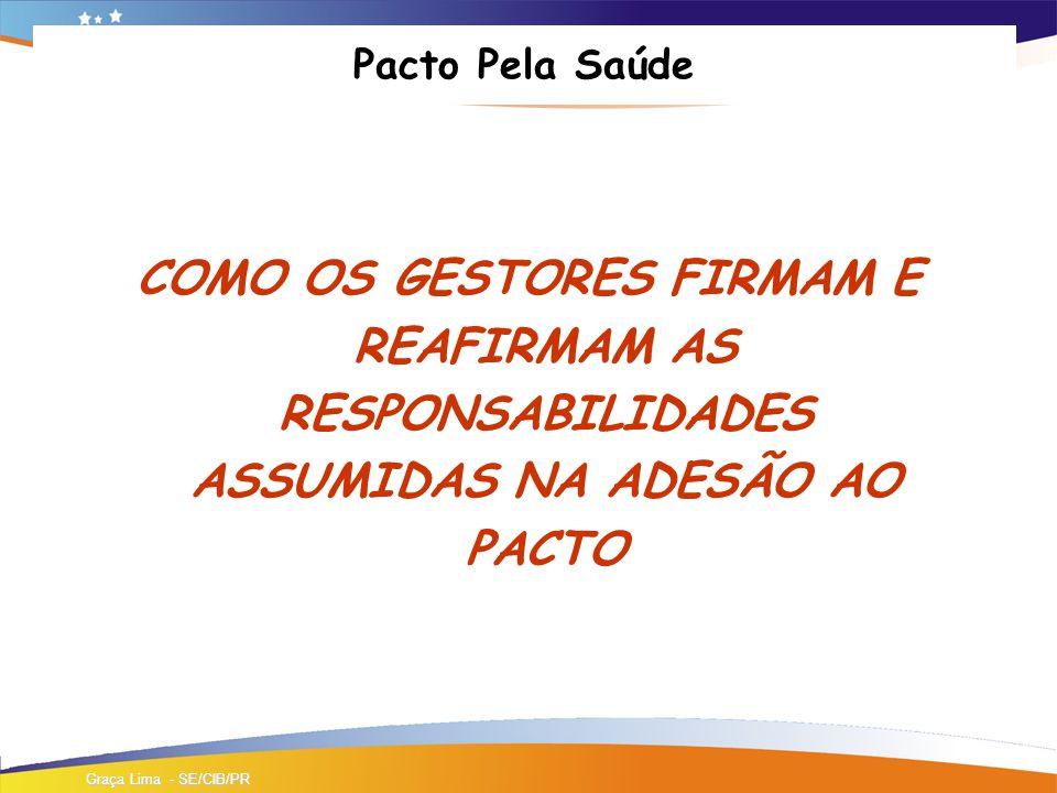 Pacto Pela Saúde COMO OS GESTORES FIRMAM E REAFIRMAM AS RESPONSABILIDADES ASSUMIDAS NA ADESÃO AO PACTO Graça Lima - SE/CIB/PR