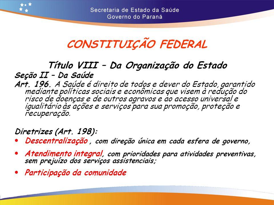 CONSTITUIÇÃO FEDERAL Título VIII – Da Organização do Estado Seção II – Da Saúde Art.