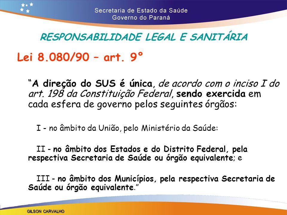RESPONSABILIDADE LEGAL E SANITÁRIA Lei 8.080/90 – art.