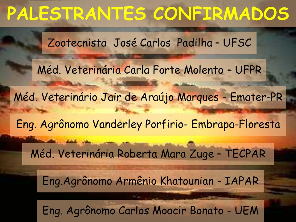 PALESTRANTES CONFIRMADOS Zootecnista José Carlos Padilha – UFSC Méd. Veterinário Jair de Araújo Marques - Emater-PR Méd. Veterinária Carla Forte Molen