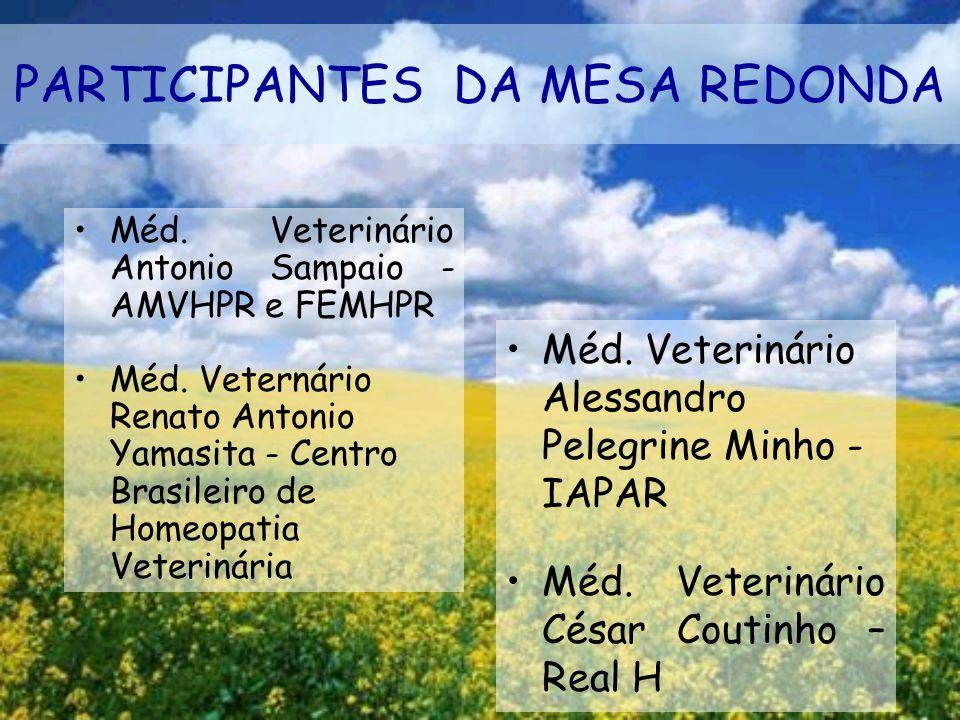 PARTICIPANTES DA MESA REDONDA Méd. Veterinário Antonio Sampaio - AMVHPR e FEMHPR Méd. Veternário Renato Antonio Yamasita - Centro Brasileiro de Homeop