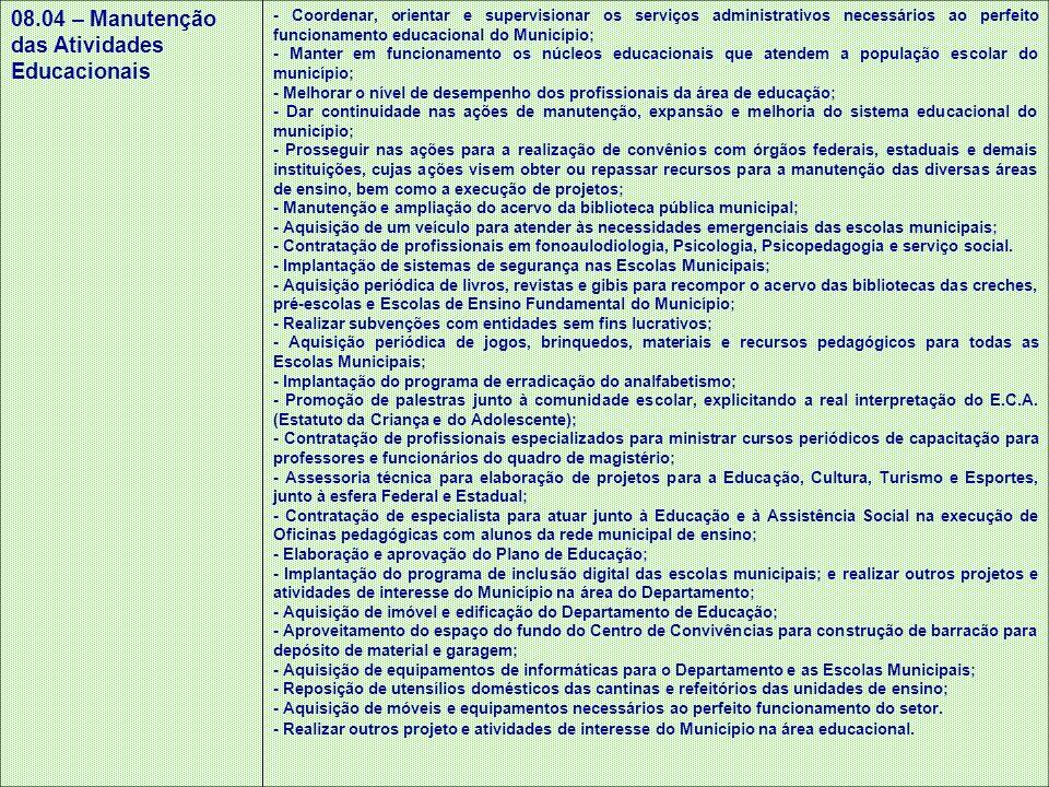 08.04 – Manutenção das Atividades Educacionais - Coordenar, orientar e supervisionar os serviços administrativos necessários ao perfeito funcionamento
