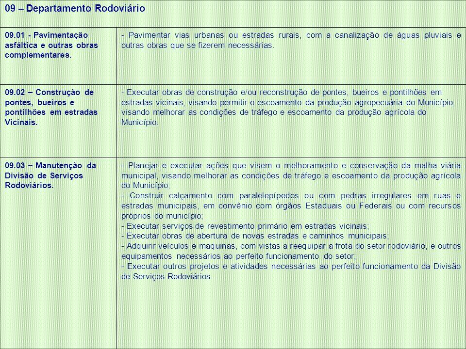 09 – Departamento Rodoviário 09.01 - Pavimentação asfáltica e outras obras complementares. - Pavimentar vias urbanas ou estradas rurais, com a canaliz