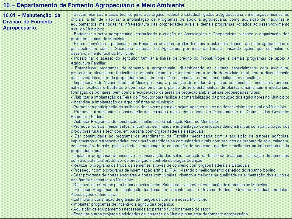 10 – Departamento de Fomento Agropecuário e Meio Ambiente 10.01 – Manutenção da Divisão de Fomento Agropecuário. - Buscar recursos e apoio técnico jun