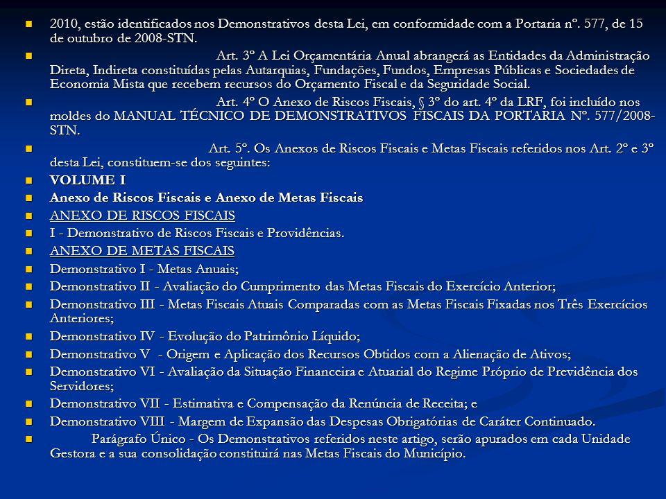 2010, estão identificados nos Demonstrativos desta Lei, em conformidade com a Portaria nº. 577, de 15 de outubro de 2008-STN. 2010, estão identificado