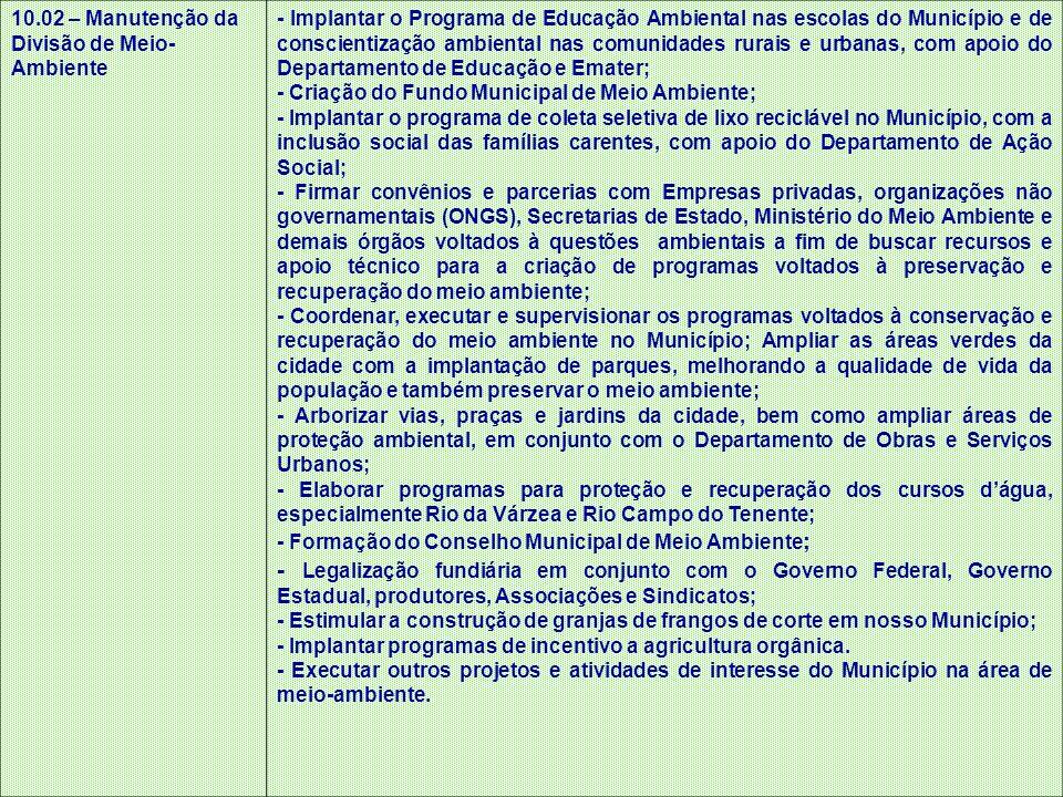 10.02 – Manutenção da Divisão de Meio- Ambiente - Implantar o Programa de Educação Ambiental nas escolas do Município e de conscientização ambiental n