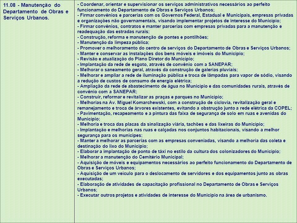 11.08 - Manutenção do Departamento de Obras e Serviços Urbanos. - Coordenar, orientar e supervisionar os serviços administrativos necessários ao perfe