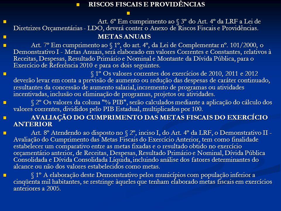 RISCOS FISCAIS E PROVIDÊNCIAS RISCOS FISCAIS E PROVIDÊNCIAS Art. 6º Em cumprimento ao § 3º do Art. 4º da LRF a Lei de Diretrizes Orçamentárias - LDO,