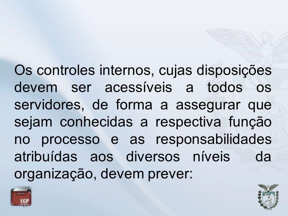 13 Os controles internos, cujas disposições devem ser acessíveis a todos os servidores, de forma a assegurar que sejam conhecidas a respectiva função