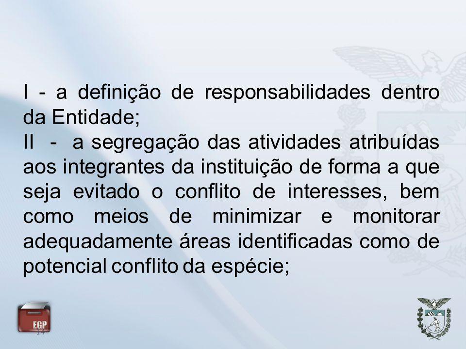 14 I - a definição de responsabilidades dentro da Entidade; II - a segregação das atividades atribuídas aos integrantes da instituição de forma a que
