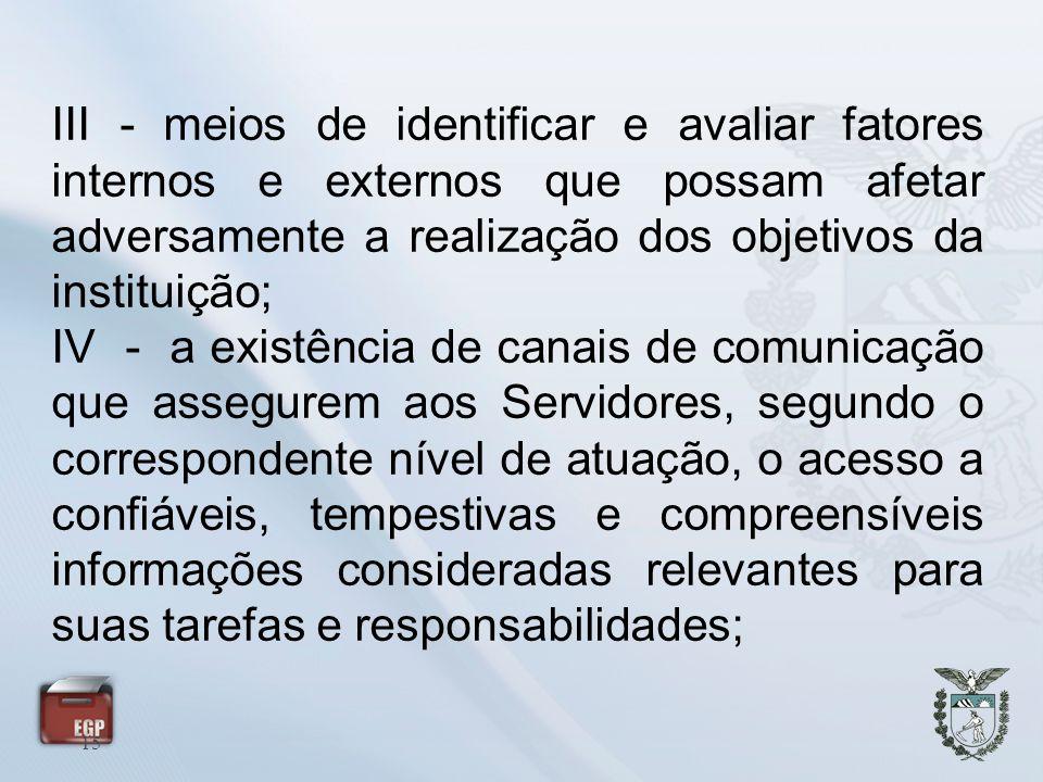 15 III - meios de identificar e avaliar fatores internos e externos que possam afetar adversamente a realização dos objetivos da instituição; IV - a e