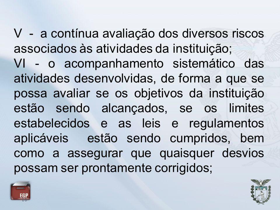 16 V - a contínua avaliação dos diversos riscos associados às atividades da instituição; VI - o acompanhamento sistemático das atividades desenvolvida