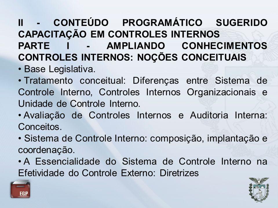 II - CONTEÚDO PROGRAMÁTICO SUGERIDO CAPACITAÇÃO EM CONTROLES INTERNOS PARTE I - AMPLIANDO CONHECIMENTOS CONTROLES INTERNOS: NOÇÕES CONCEITUAIS Base Le