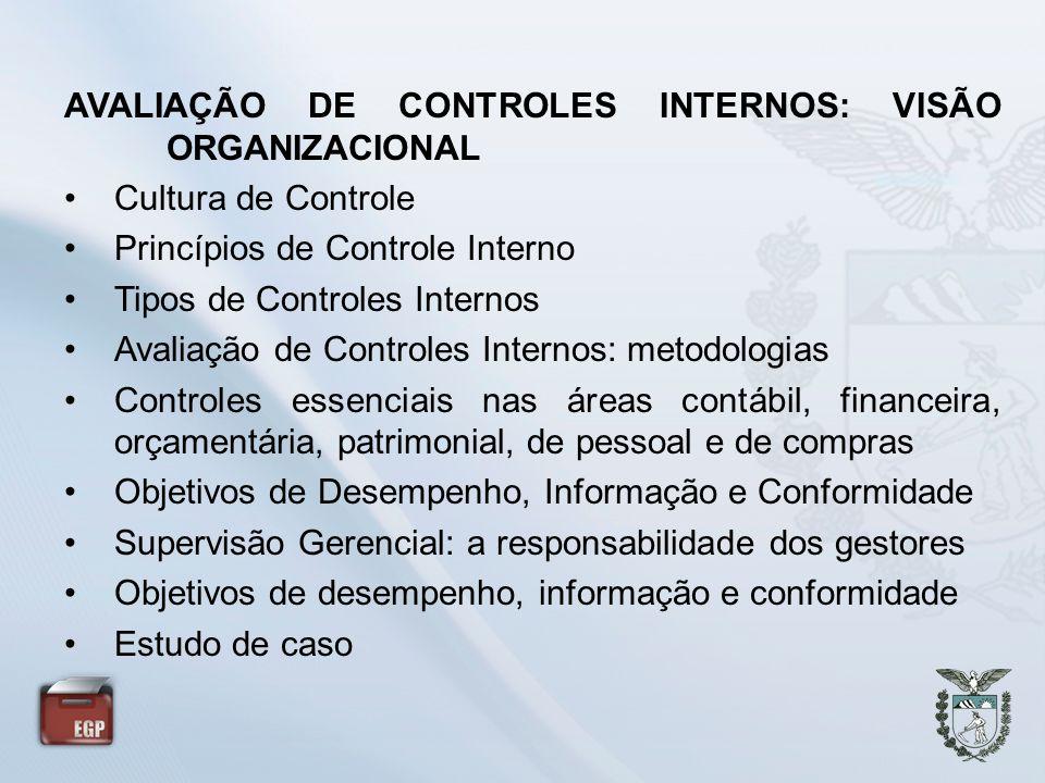 AVALIAÇÃO DE CONTROLES INTERNOS: VISÃO ORGANIZACIONAL Cultura de Controle Princípios de Controle Interno Tipos de Controles Internos Avaliação de Cont