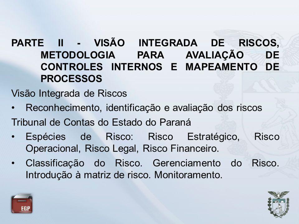 PARTE II - VISÃO INTEGRADA DE RISCOS, METODOLOGIA PARA AVALIAÇÃO DE CONTROLES INTERNOS E MAPEAMENTO DE PROCESSOS Visão Integrada de Riscos Reconhecime