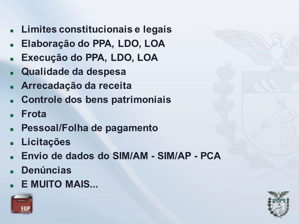 38 Limites constitucionais e legais Elaboração do PPA, LDO, LOA Execução do PPA, LDO, LOA Qualidade da despesa Arrecadação da receita Controle dos ben