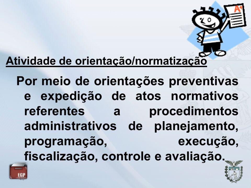Atividade de orientação/normatização 40 Por meio de orientações preventivas e expedição de atos normativos referentes a procedimentos administrativos