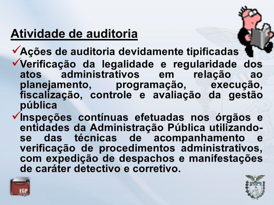 42 Ações de auditoria devidamente tipificadas Verificação da legalidade e regularidade dos atos administrativos em relação ao planejamento, programaçã