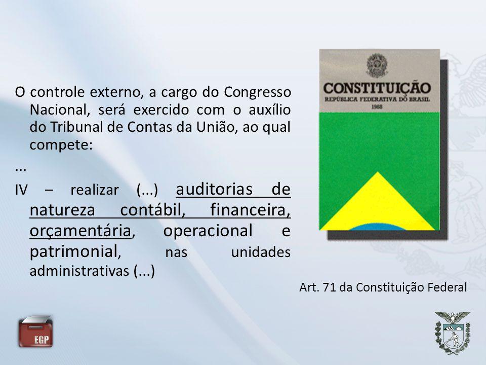 O controle externo, a cargo do Congresso Nacional, será exercido com o auxílio do Tribunal de Contas da União, ao qual compete:... IV – realizar (...)