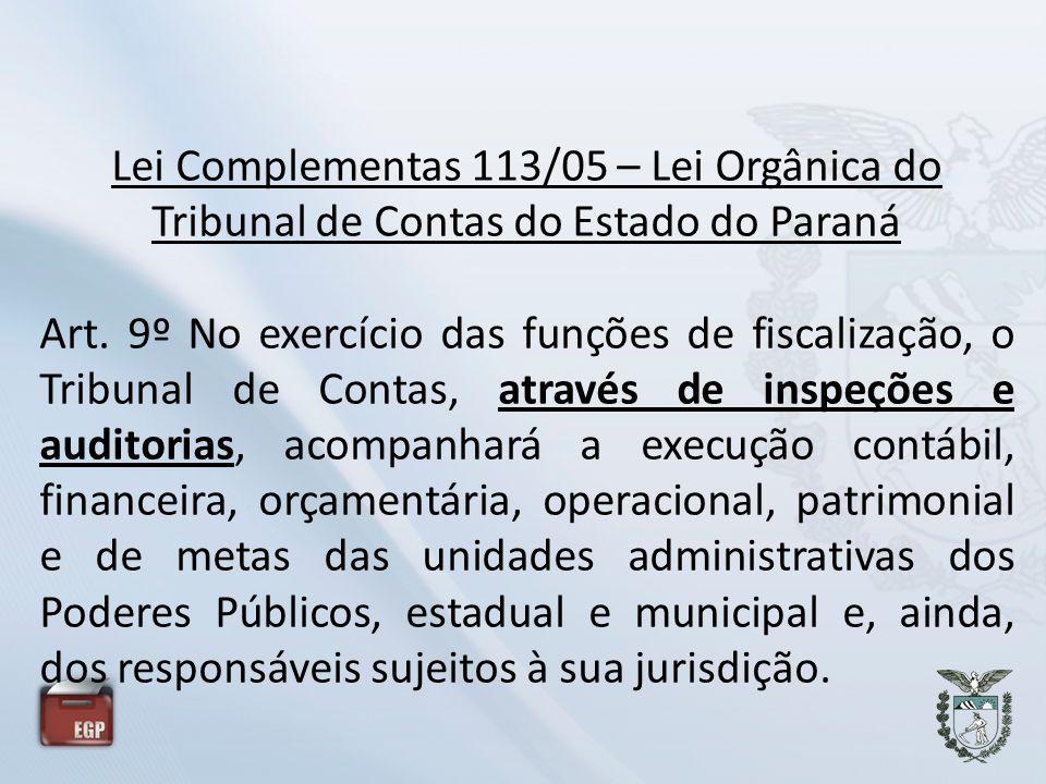 Lei Complementas 113/05 – Lei Orgânica do Tribunal de Contas do Estado do Paraná Art. 9º No exercício das funções de fiscalização, o Tribunal de Conta