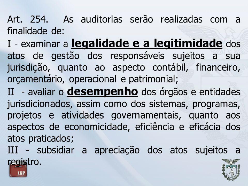 Art. 254. As auditorias serão realizadas com a finalidade de: I - examinar a legalidade e a legitimidade dos atos de gestão dos responsáveis sujeitos