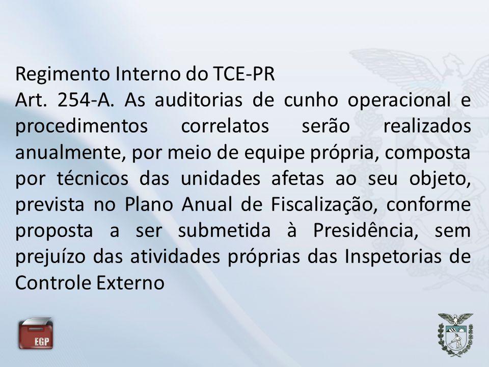 Regimento Interno do TCE-PR Art. 254-A. As auditorias de cunho operacional e procedimentos correlatos serão realizados anualmente, por meio de equipe