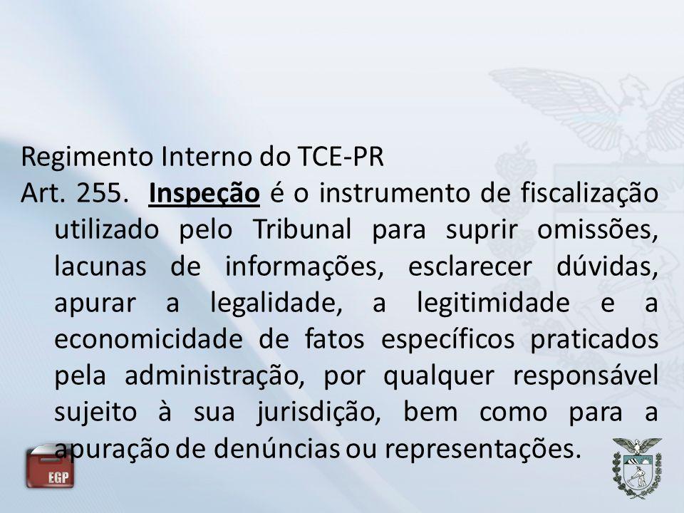 Regimento Interno do TCE-PR Art. 255. Inspeção é o instrumento de fiscalização utilizado pelo Tribunal para suprir omissões, lacunas de informações, e
