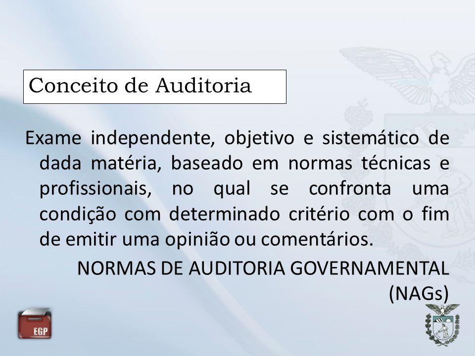 Conceito de Auditoria Exame independente, objetivo e sistemático de dada matéria, baseado em normas técnicas e profissionais, no qual se confronta uma