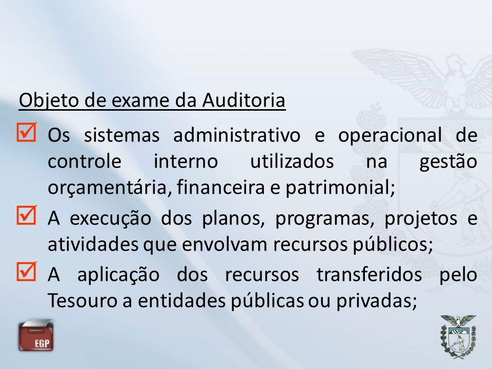 Objeto de exame da Auditoria Os sistemas administrativo e operacional de controle interno utilizados na gestão orçamentária, financeira e patrimonial;