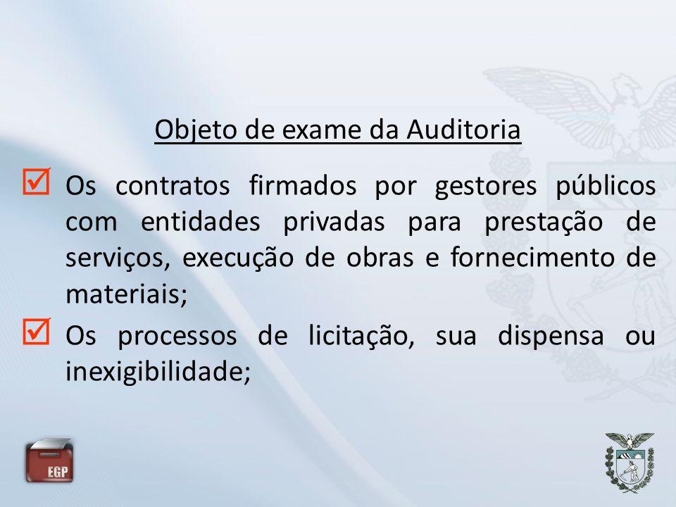 Os contratos firmados por gestores públicos com entidades privadas para prestação de serviços, execução de obras e fornecimento de materiais; Os proce