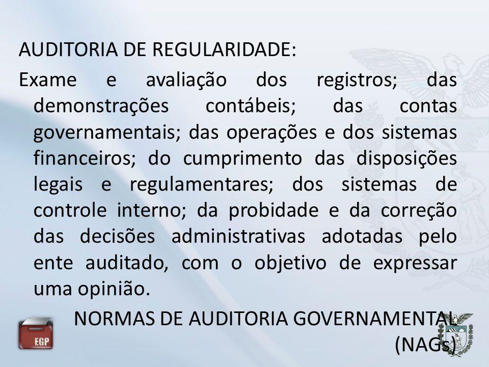AUDITORIA DE REGULARIDADE: Exame e avaliação dos registros; das demonstrações contábeis; das contas governamentais; das operações e dos sistemas finan