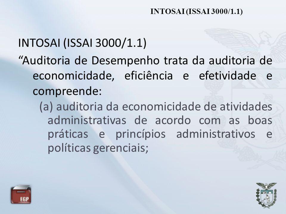 INTOSAI (ISSAI 3000/1.1) Auditoria de Desempenho trata da auditoria de economicidade, eficiência e efetividade e compreende: (a) auditoria da economic