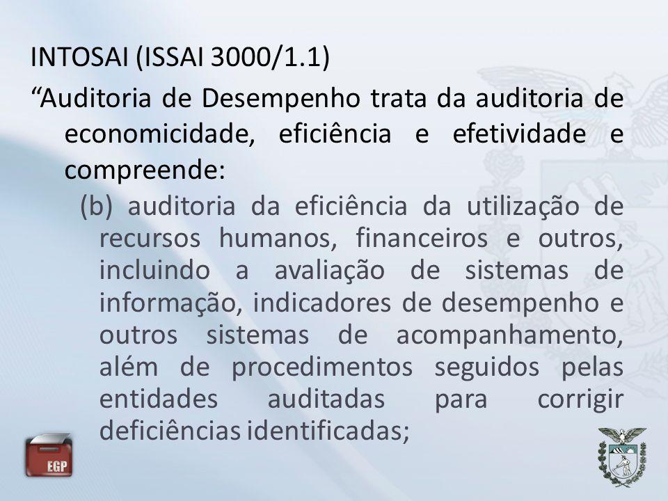 Auditoria de Desempenho trata da auditoria de economicidade, eficiência e efetividade e compreende: (b) auditoria da eficiência da utilização de recur