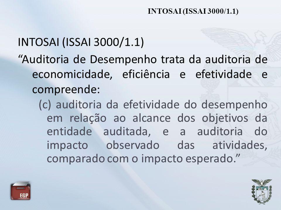INTOSAI (ISSAI 3000/1.1) Auditoria de Desempenho trata da auditoria de economicidade, eficiência e efetividade e compreende: (c) auditoria da efetivid