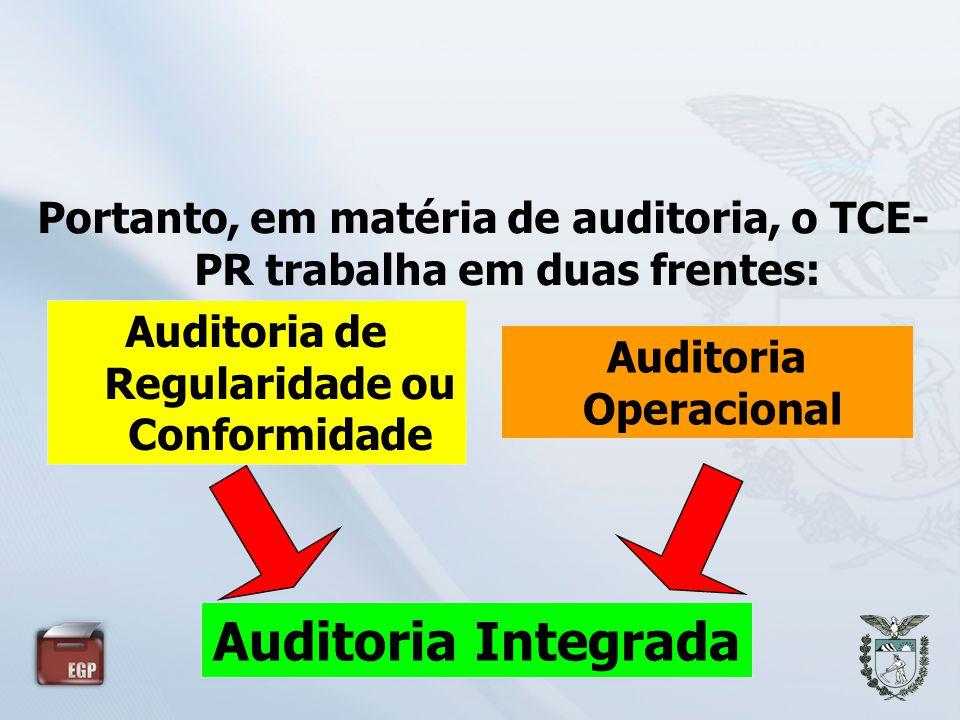 Portanto, em matéria de auditoria, o TCE- PR trabalha em duas frentes: Auditoria de Regularidade ou Conformidade Auditoria Operacional Auditoria Integ