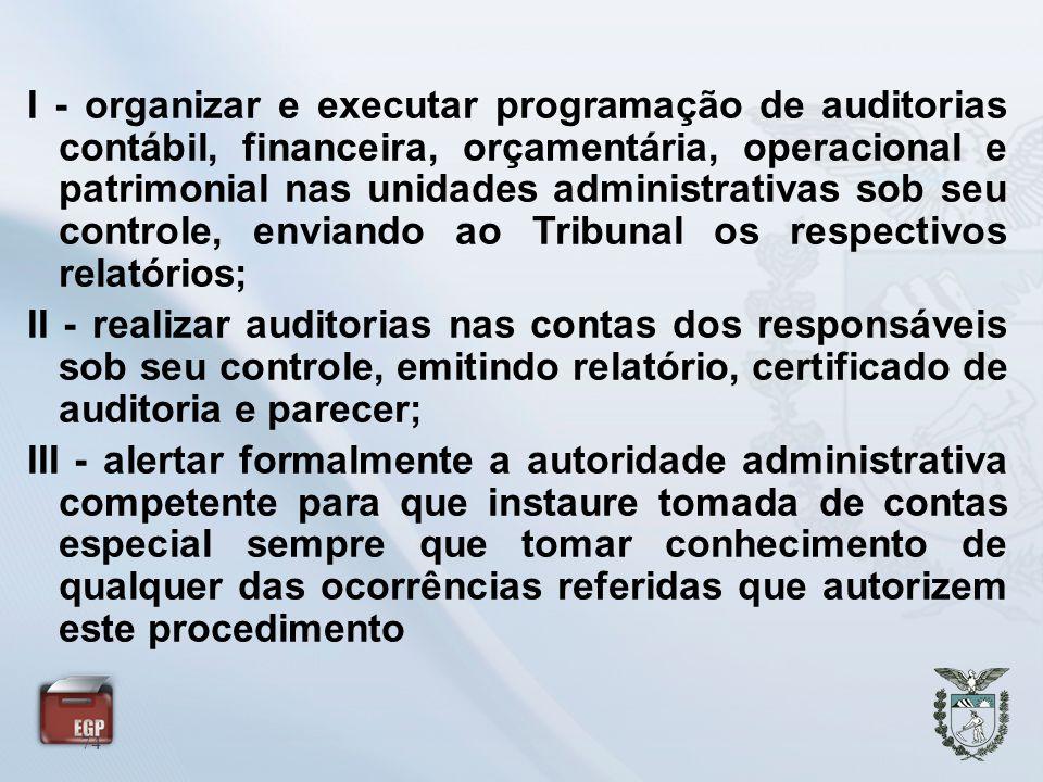 74 I - organizar e executar programação de auditorias contábil, financeira, orçamentária, operacional e patrimonial nas unidades administrativas sob s