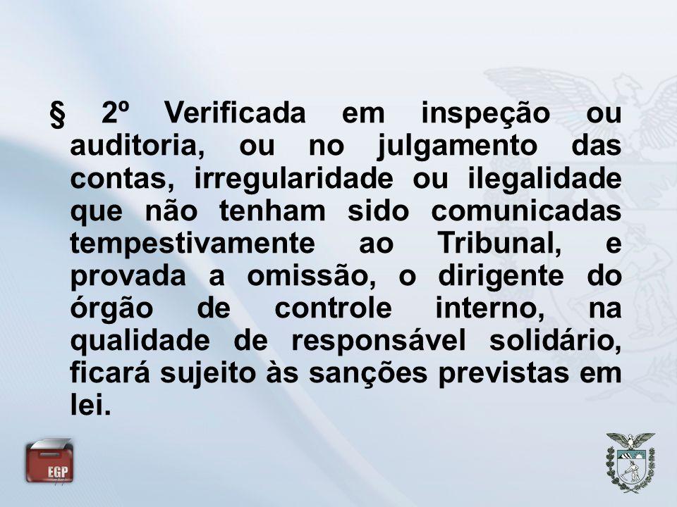 77 § 2º Verificada em inspeção ou auditoria, ou no julgamento das contas, irregularidade ou ilegalidade que não tenham sido comunicadas tempestivament