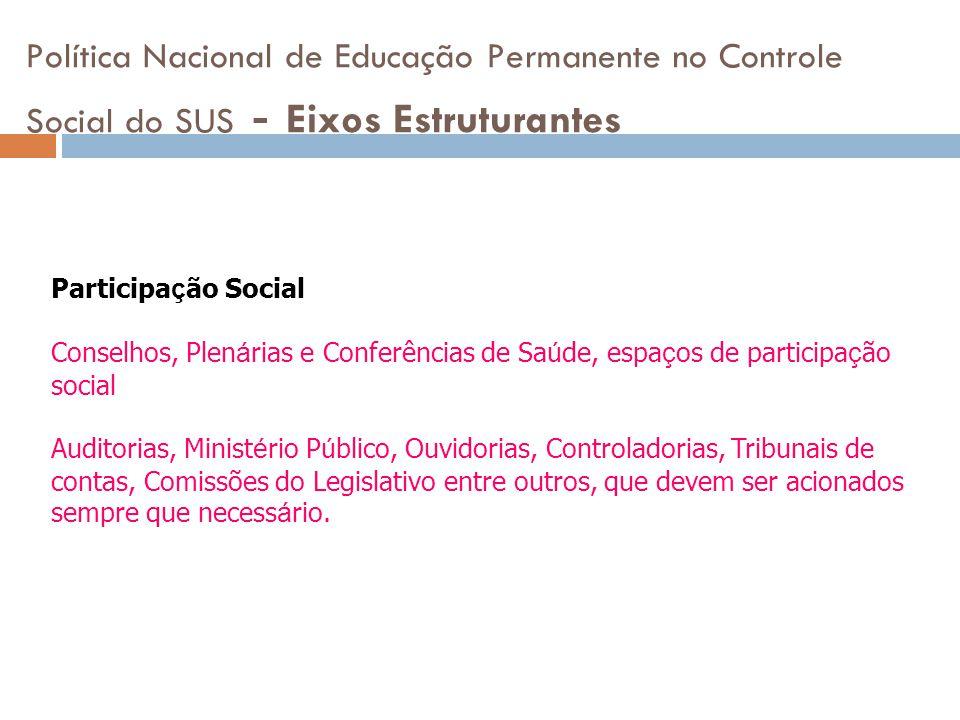 Política Nacional de Educação Permanente no Controle Social do SUS - Eixos Estruturantes Participa ç ão Social Conselhos, Plen á rias e Conferências d
