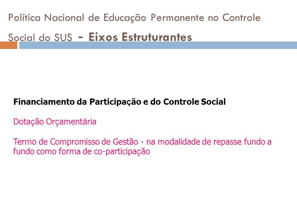 Política Nacional de Educação Permanente no Controle Social do SUS - Eixos Estruturantes Financiamento da Participa ç ão e do Controle Social Dota ç ã