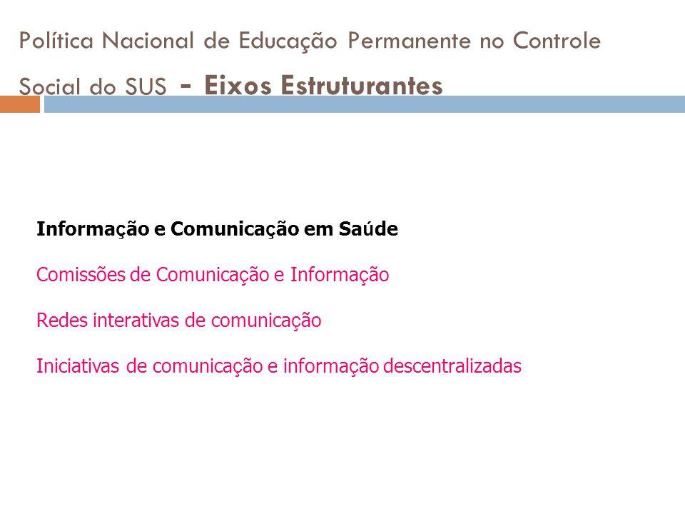 Política Nacional de Educação Permanente no Controle Social do SUS - Eixos Estruturantes Informa ç ão e Comunica ç ão em Sa ú de Comissões de Comunica