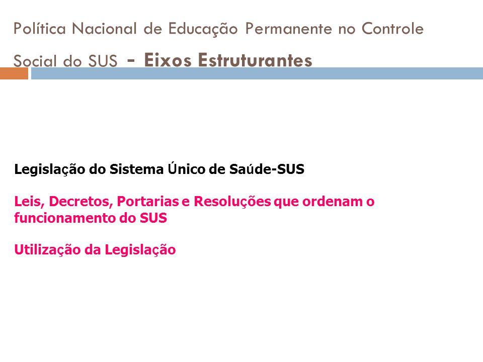 Política Nacional de Educação Permanente no Controle Social do SUS - Eixos Estruturantes Legisla ç ão do Sistema Ú nico de Sa ú de-SUS Leis, Decretos,