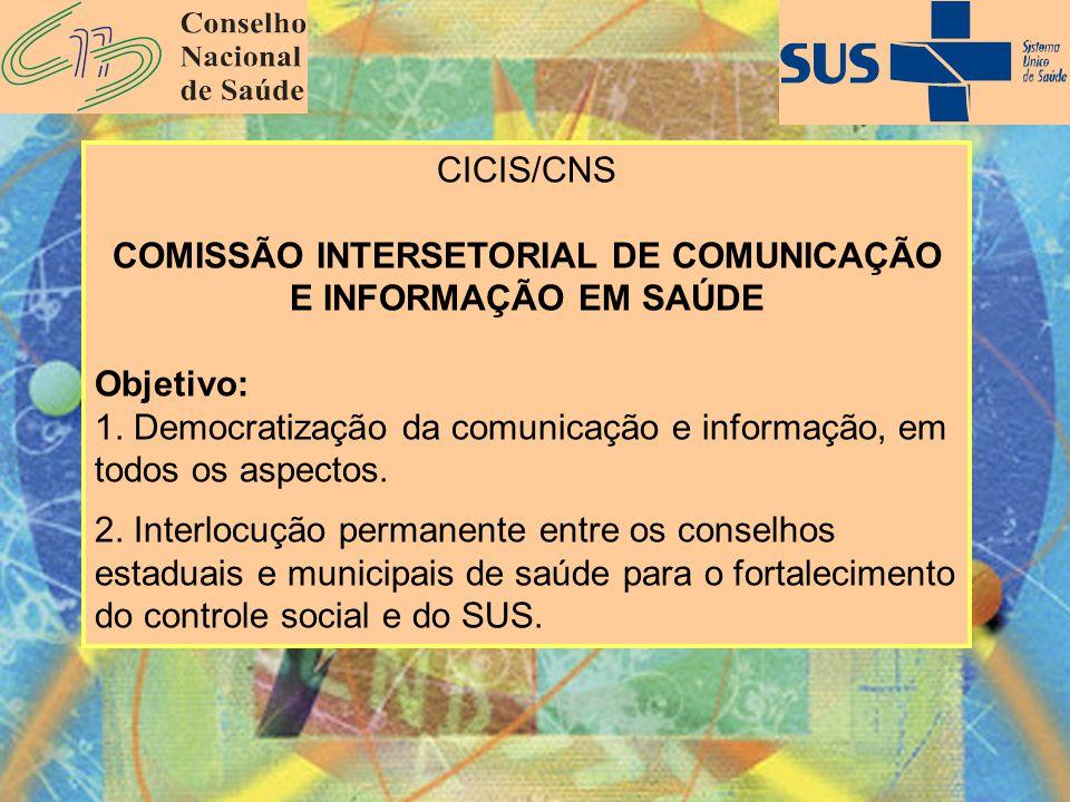 CICIS/CNS COMISSÃO INTERSETORIAL DE COMUNICAÇÃO E INFORMAÇÃO EM SAÚDE Objetivo: 1. Democratização da comunicação e informação, em todos os aspectos. 2