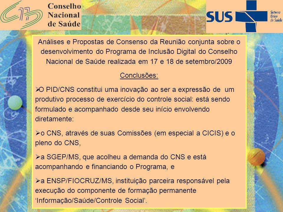 Ministério da Saúde Fundação Oswaldo Cruz Escola Nacional de Saúde Pública Análises e Propostas de Consenso da Reunião conjunta sobre o desenvolviment